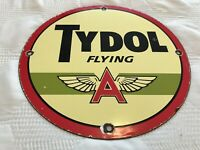 VINTAGE TYDOL FLYING A MOTOR OIL PORCELAIN SIGN, GAS STATION PUMP PLATE GASOLINE