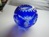 Blue Bohemian Glass Cut to Clear Rose Bowl Vase