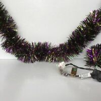 AGD Halloween  Decor - Multi-Color Tinsel with Purple Lighted Garland 10ft