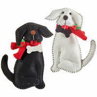 Raz Imports Christmas Decor - Felt Black White Dog Pup Ornament 2pc