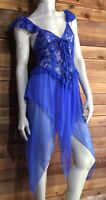 VINTAGE BLUE SIZE 34 NIGHTGOWN LACE UP BODICE #7850