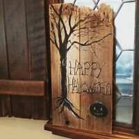 Rustic Happy Halloween Reclaimed Wood Sign