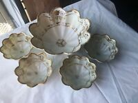 Hand Painted Nippon Nut Dish Set Gold Relief Green Mark