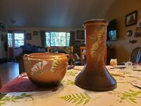 Large Roseville pottery with pedestal