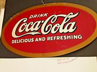 Vintage 60s 28x16 Delicious Refreshing Tin Metal Coca-Cola Store Sign