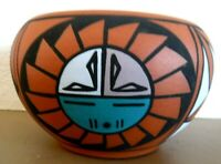 Vtg Signed Contemporary Navajo Southwest American Indian Pottery Bowl Vail