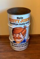 Vintage 1981 Rusty Jones Gas Station Oil/ Trash Can. Excellent Graphics!