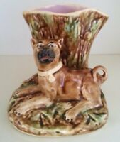 Pretty/Old Majolica Figural Spill Vase with a Dog, Nice & Highly Collectible