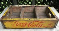 VINTAGE 1964 Yellow Red COCA-COLA COKE Wood Case / Crate / Box ~ Charleston, SC