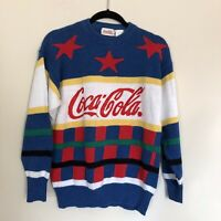 Vintage 80s Coca Cola Approximate Size L Coke Spell Out Sweater Stars Stripes