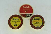 Lot of 3 Vintage Scotch Tape Tins Original Tape Inside Collectible Tin