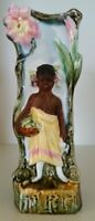Pretty/Old Majolica Blackamoor Vase with a Girl Holding a Basket of Fruits