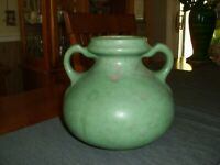 Vintage Burley Winter Pottery Green Two-Handled Vase