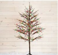 NEW GE 5-ft Pre-Lit Winterberry  Artificial Christmas Tree with LED Lights