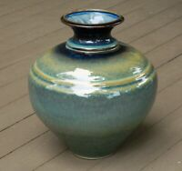 Bill Campbell Art Pottery Vase Urn Glaze Signed 10 1/4