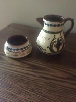 Antique Longpark Torquay Pottery Motto Ware Pitcher & Sugar Bowl  England