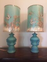 2 Vintage Van Briggle Lamps with Original Shade Blue Turquoise Real Butterfly