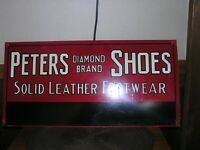 Vintage Peters Diamond Brand Shoe Sign, Antique, Country Store, Red Goose,