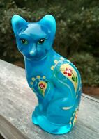 Fenton GLASS QVC Opal Blue Stylized Cat Hand Painted Paisley with Yellow Flowers