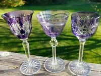 3 Amethyst Cut to Clear Bohemian Wine / Liqueur Glasses - varying patterns - EUC
