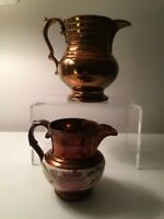 Antique Victorian Pottery Copper Lustre Hand Painted Pitchers 19th c England