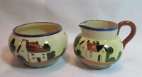 Torquay Watcombe Pottery England Devon Motto Ware Creamer Open Sugar Bowl