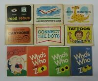 Vintage Lot of 10 Cracker Jack ZOO BOOKS TATTOOS Games Toys Prize Premiums #10