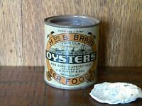 VINTAGE PINT H & B BRAND FAMOUS OYSTER TIN CAN ~ CRISFIELD, MD ~ MD 193