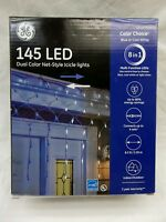 145 LED DUAL COLOR NET STYLE ICICLE LIGHTS BLUE, COOL WHITE OR LIGHT SHOW 8 IN 1