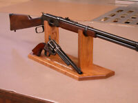 2 Gun Display Stand for Pistol & Rifle Colt Winchester Solid Oak Made in USA