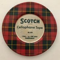 Vintage Scotch Tape Tin filled with Vintage Buttons Metal 1950s Primitive