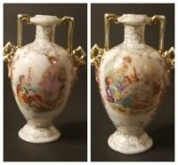 2 Antique German Schierholz Plaue Porcelain Vases Boucher Artwork 4.75
