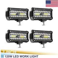 4x 7INCH 120W LED WORK LIGHT BAR OFFROAD for ATV FOG TRUCK SUV 4WD 12V VS  yl10