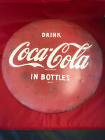 Coca Cola Button Sign Drink Coca-Cola In Bottles 12 A-M 37x
