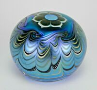 LUNDBERG STUDIOS IRIDESCENT VINTAGE PAPERWEIGHT-WAVES & FLOWER-SIGNED-DATED 1976