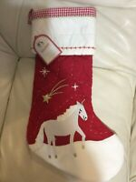 Pottery Barn Kids Christmas Quilted Red Stocking NWT No Mono Unicorn