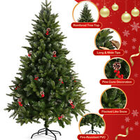 5FT 6FT 7FT White Christmas Tree Xmas Pine Holiday w/Metal Stand Outdoor Indoor
