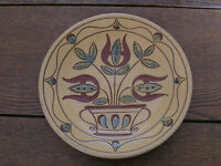 Sgraffito Redware Plate*TULIPS*J Huntley*Wisconsin Pottery*Inscribed*Signed*OOAK
