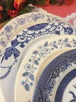4 Vintage Mismatched China Ironstone Dinner Plates Blue White Transferware  #278