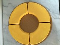 Vintage Yellow 4 pieces Relish Snack Tray Inserts for Lazy Susan Fiestaware