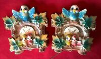 VINTAGE CLOCK DESIGN WALL POCKET PLANTERS TWO 2 MADE IN JAPAN BLUEBIRD I1