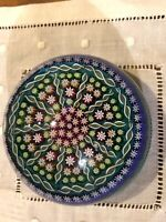 PERTHSHIRE PATTERNED MILLEFIORI TWISTED CANE GLASS PAPERWEIGHT BLUE GREEN RED