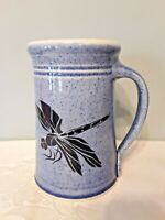 GREAT BAY POTTERY Dragonfly Tall Mug Blue Speckled, 16 oz. Made in USA