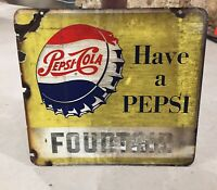 VINTAGE PEPSI Porcelain Metal SIGN FOUNTAIN Double Sided Rare Advertising Soda
