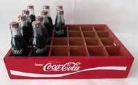 10 Vintage Miniature Glass COCA-COLA Coke Bottles in Mini Red Wood Crate