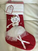 Pottery Barn Kids Christmas Quilted Red Dancing Kitty Cat Stocking No Mono NWT!