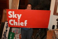 Large Vintage 1960's Texaco Sky Chief Gas Station Price 2 Sided 45