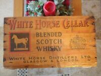 Old Antique White Horse Cellar Scotch Whiskey Wooden Crate Wood Box