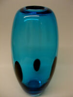 VINTAGE ITALIAN ART GLASS OVOID VASE TURQUOISE BLUE with ABSTRACT BLACK BLOTCHES