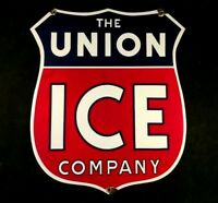 Vintage UNION ICE COMPANY HEAVY PORCELAIN SIGN Rare Old Advertising